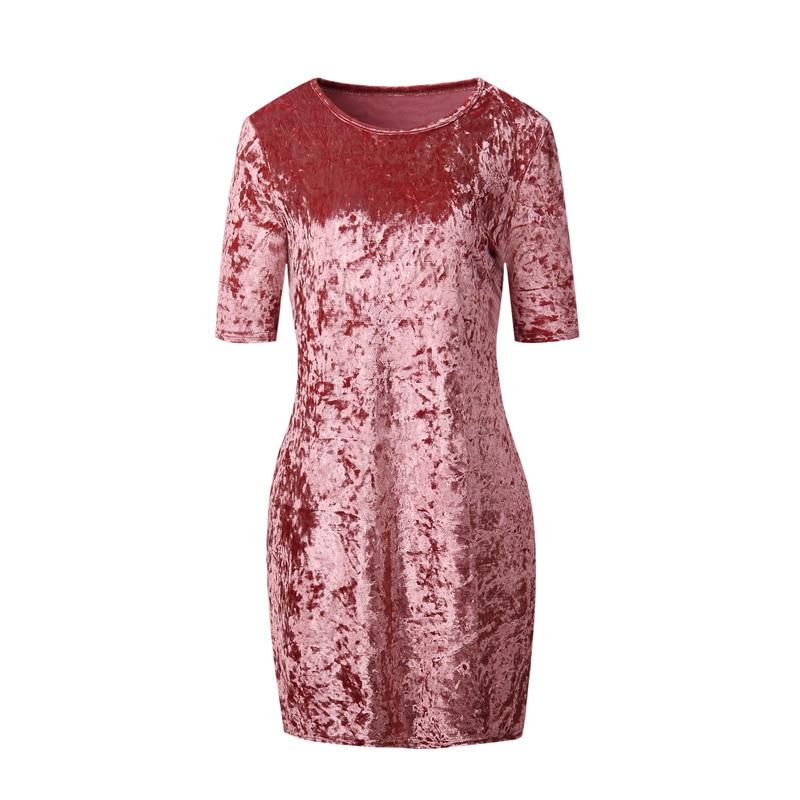 Esmagado veludo vestido casual 2018 nova mulher verão rosa em torno do pescoço vestido de manga curta mudança vestido curto