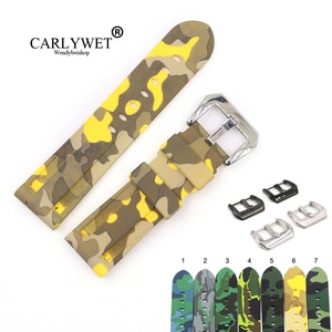 CARLYWET 22 24mm Camo Yellow Dark Grey Waterproof Silicone Rubber Replacement Wrist Watch Band Strap Loops For Panerai Luminor
