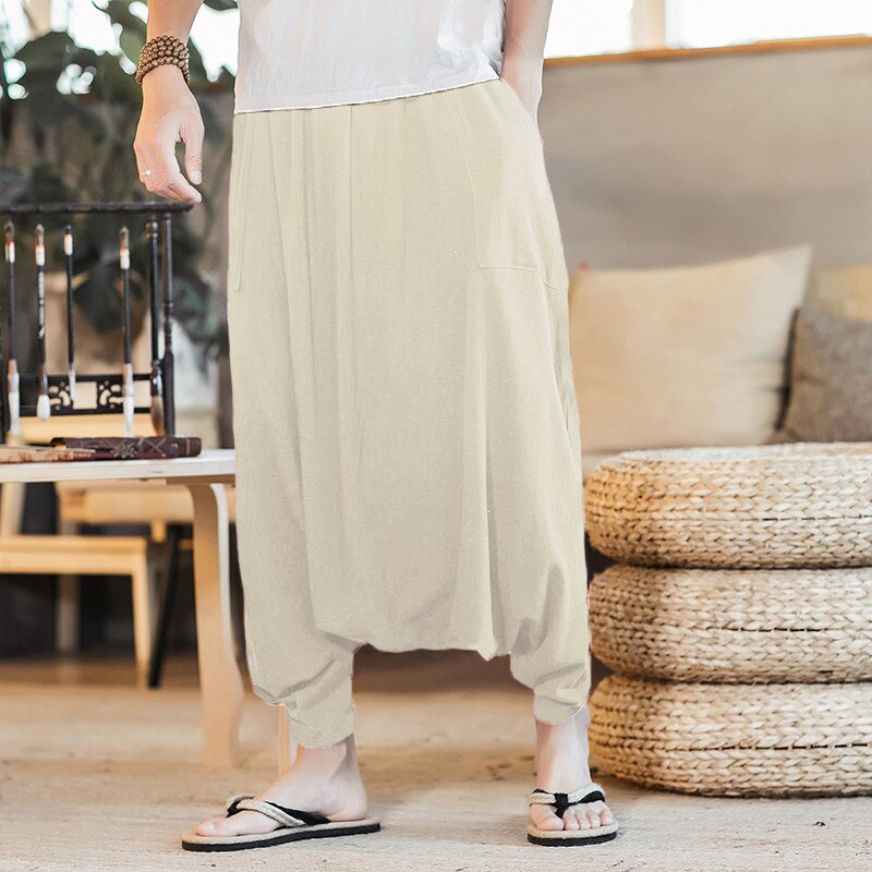 Pantalones Retro de verano para hombre grandes entrepierna linterna pantalones holgados hombre HipHop pantalones harem informales de talla grande 5XL INCERUN