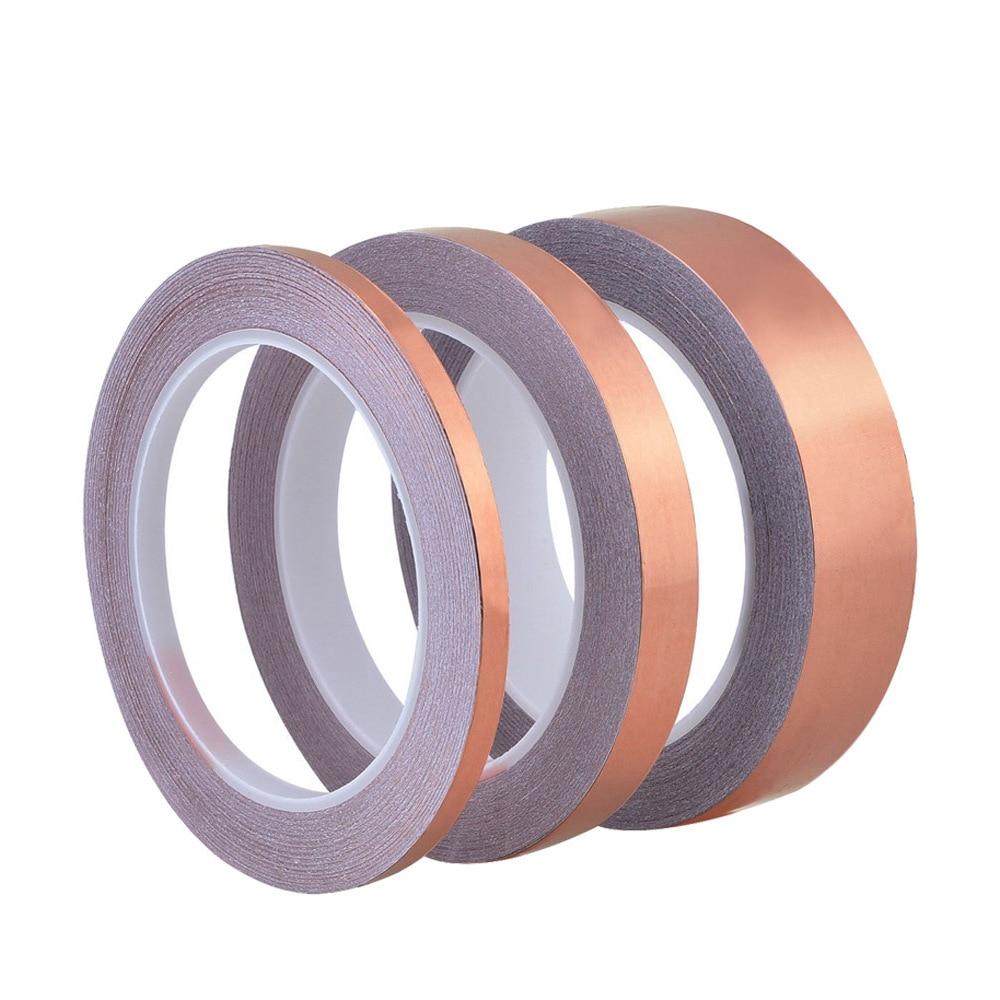 50 Meters Single Side Conductive Copper Foil Tape Strip Adhesive EMI Shielding Heat Resist Tape 3mm 6mm 15mm #