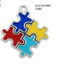 Silber überzogene farben-emaille infantile autismus puzzles design charms 10 PC