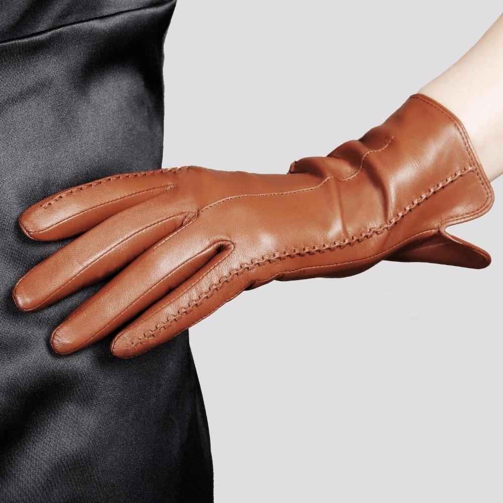جودة عالية أنيقة النساء قفازات جلد طبيعي رقيقة الحرير بطانة الماعز القيادة قفازات الساخن الاتجاه الإناث قفاز L085NN