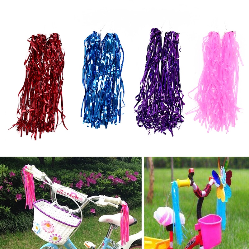 2 uds bicicleta ciclismo triciclo niños niñas niños manillar Streamers borlas color al azar