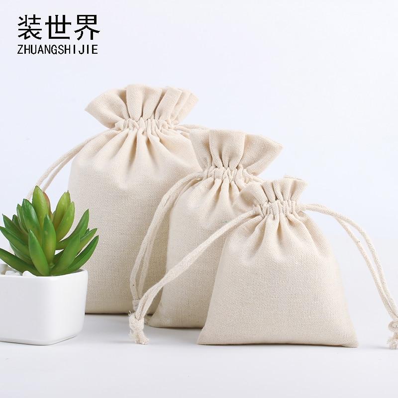 Bolsa de lino de yute reutilizable Natural al por mayor, bolsa de regalo embalaje, logotipo impreso, joyería, bolsa de Navidad