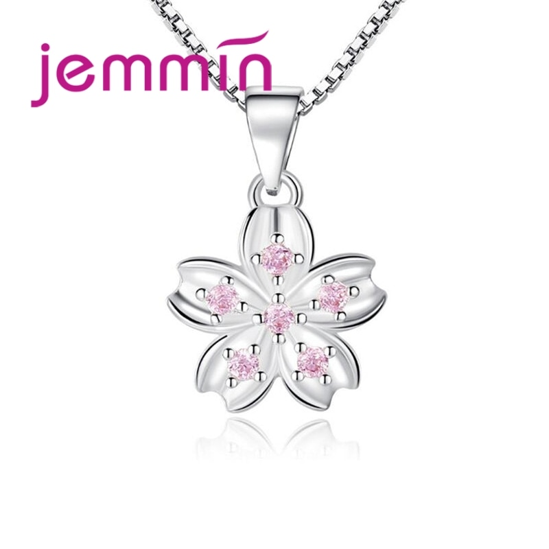 925 Sterling Silver Cubic Zirconia Charm Infinity Beautiful Flower Dangle Detachable Female Anniversary Necklace Gift bff infinity necklace 925 sterling silver aaa cubic zirconia cyrstal necklace always best friend sister forever gift p6093b
