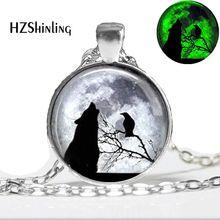 Colar de lobo brilhante lobo anf raven lua cheia pingente de vidro cúpula jóias brilho no escuro pingente