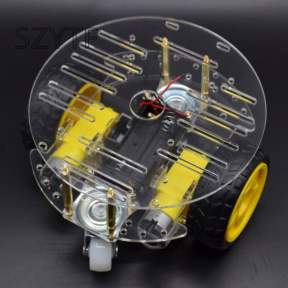 1 juego 2WD Mini redondo de doble cubierta inteligente Robot Chasis de coche DIY Kit de seguimiento fuerte motor magnético RT-4 de coche
