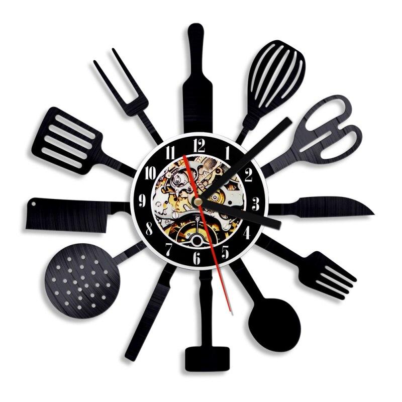 1 sztuka spersonalizowane 12 Cal kuchnia płyta winylowa zegar ścienny nóż i widelec łyżka zastawa stołowa zegar ścienny zegar ścienny sztućce Wall Art