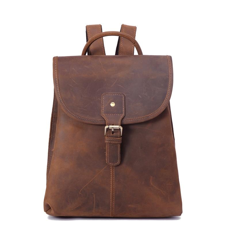 Mini mochila de couro genuíno dos homens saco de negócios para adolescente mulheres bagpack crazy horse back pack feminino saco de escola grande