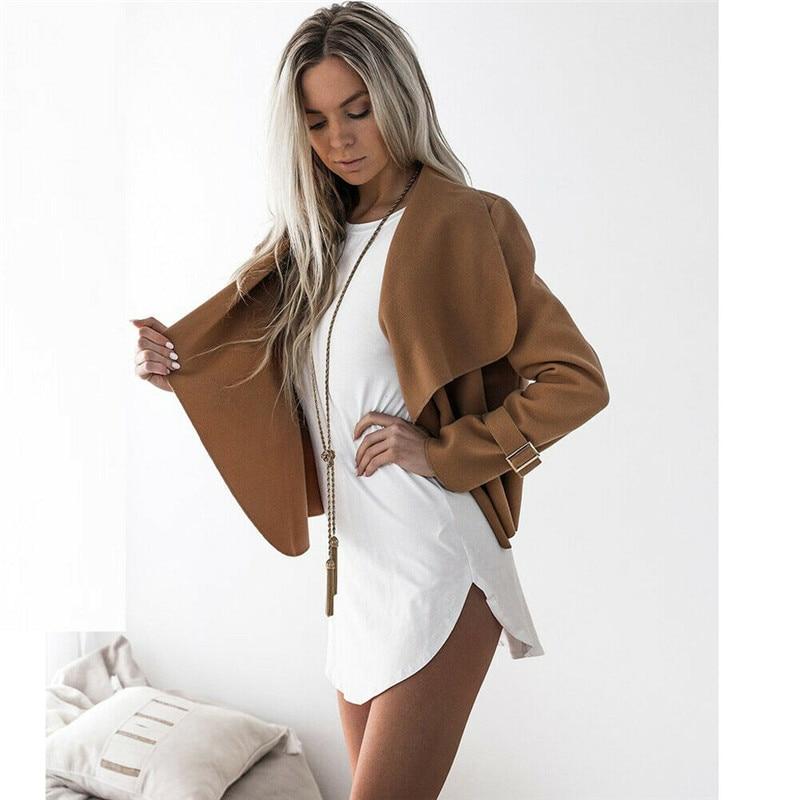 Women Open Front Cardigan Jacket Ladies Ruffles Waterfall Duster Jacket 2019 Spring Autumn Irregular Outwear Casual Top Coats