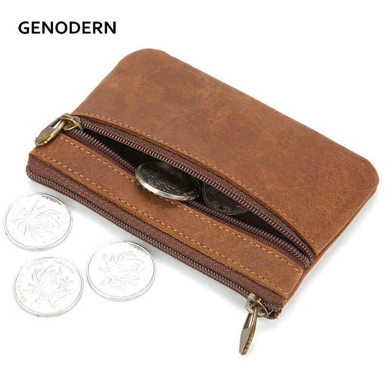 Мужской винтажный кошелек GENODERN из натуральной кожи Crazy Horse, на молнии, кошелек для монет в стиле ретро, маленькая сумочка для денег