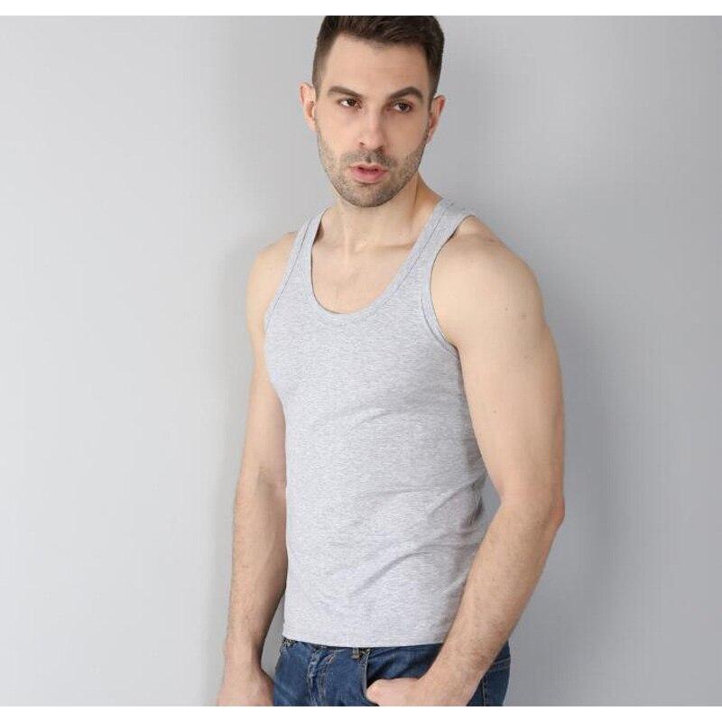 Nueva camiseta sin mangas para hombre, camiseta sin mangas, 95% algodón + 5% spandex