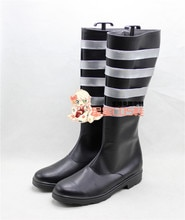 D. gris-homme Lavi rabbin noir longue Halloween Cosplay chaussures bottes X002