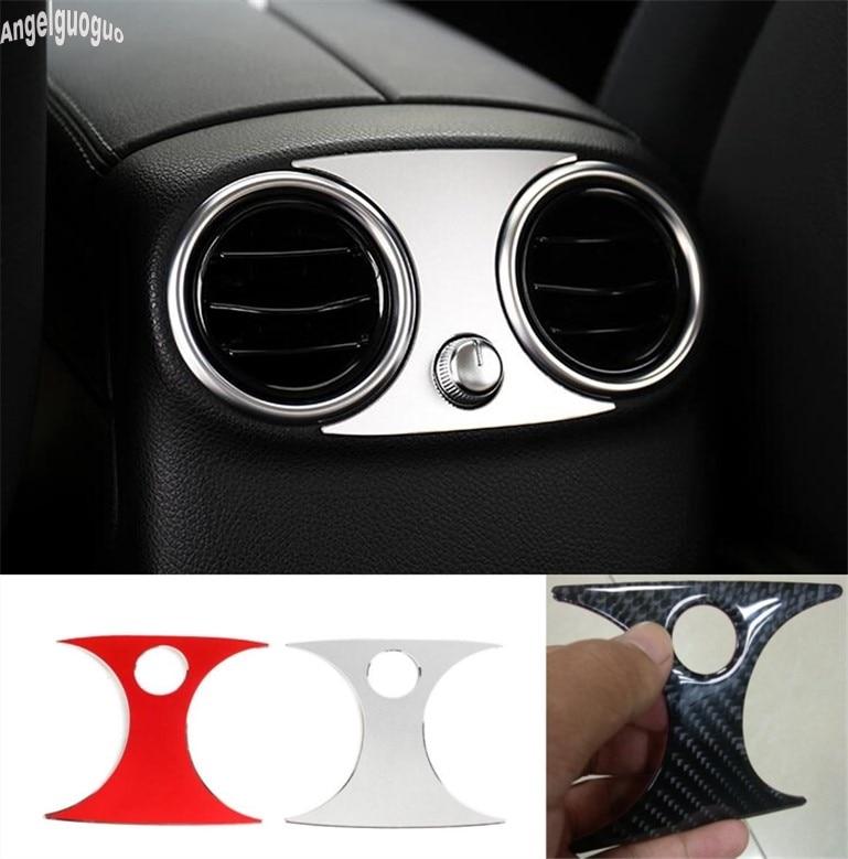 Para Mercedes Benz GLC Clase C W205 W253 C200 GLC260 etc fibra de carbono o Metal reposabrazos trasero tapa de salida de aire pegatina de ventilación