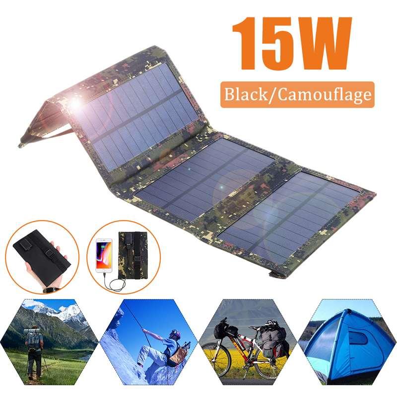 Panel Solar portátil de 15W y 5V, cargador Solar monocristalino plegable, resistente al agua, para batería de teléfono, puerto USB