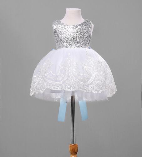 Summer Cute Flower Girl Princess Dress Kids Baby Dance White Big Bowknot Sleeveless  Party Wedding Bridesmaid Tulle Tutu Dresses