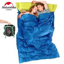 Naturerandonnée Double sac de couchage adulte enveloppe remplissage coton automne hiver Camping en plein air tourisme sac de couchage avec oreiller