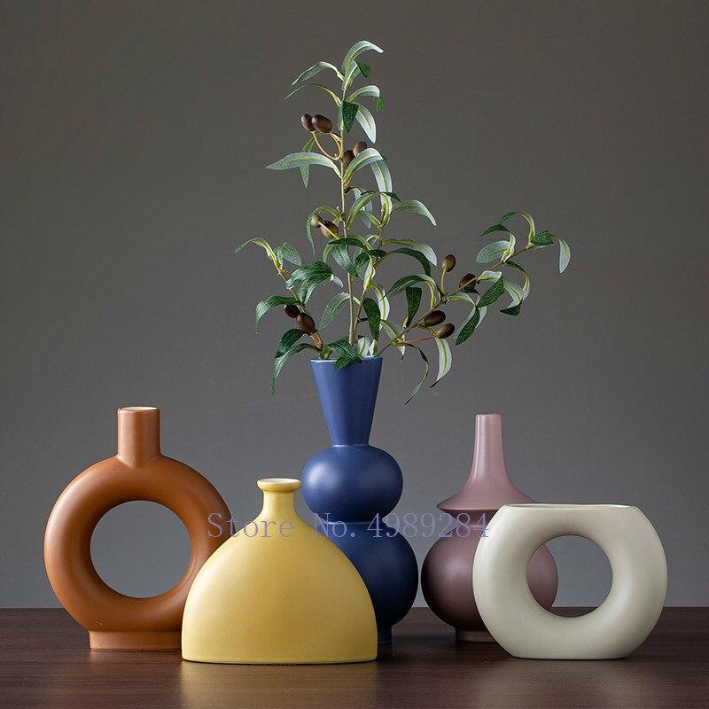 Florero geométrico irregular de cerámica nórdica florero moderno florero de cerámica decoración creativa para el hogar Flor de habitación