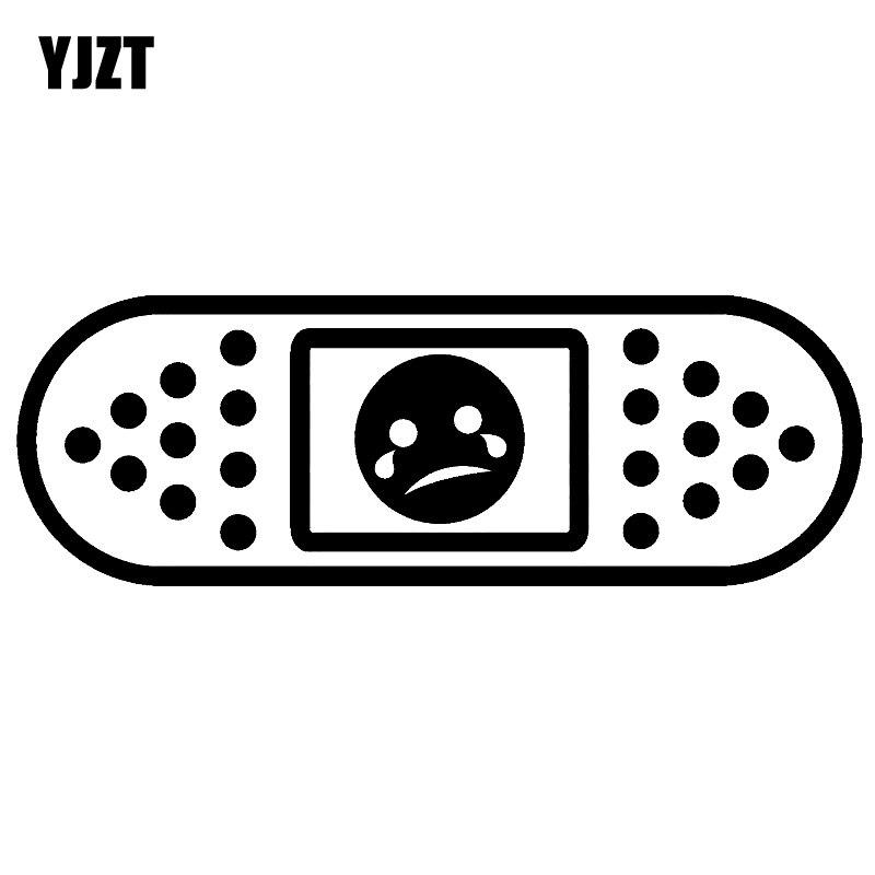 YJZT 15,2*5,2 CM diversión JDM cara triste Ouch tirita calcomanía coche-styling Car Sticker negro/plata vinilo S8-1459