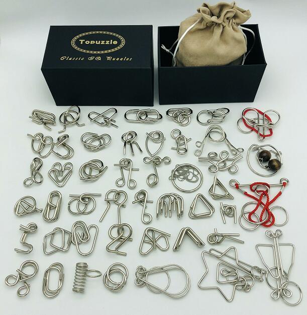 Новый набор из 30/41/46 шт. металлические головоломки, мозговой тизер, магический провод колец, пазлы, игровые Игрушки для детей и взрослых