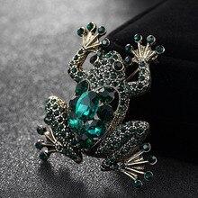 Broche grenouille verte pour femmes, Bijoux danniversaire, broches en strass brillant bouquet femmes Vintage broche Animal broche sacs Bijoux
