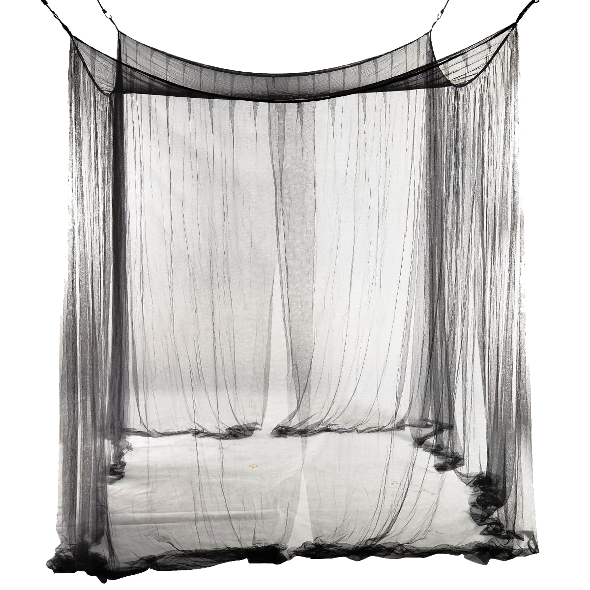 Gran Casa práctica mosquiteros negro cuatro poste esquina cama dosel mosquitero red para acampar