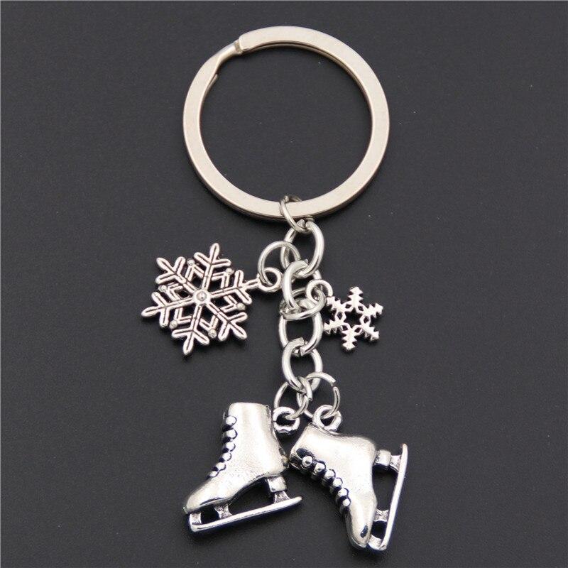 1 шт. серебряный цвет ледяные коньки Снежинка подвеска брелок для катания брелок ювелирные изделия для зимнего подарка