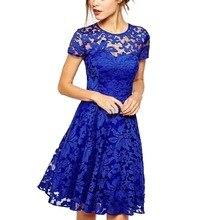 Fashion Summer Women Floral Lace Dress Short Sleeve O-Neck Casual Mini Dresses s Vestidos