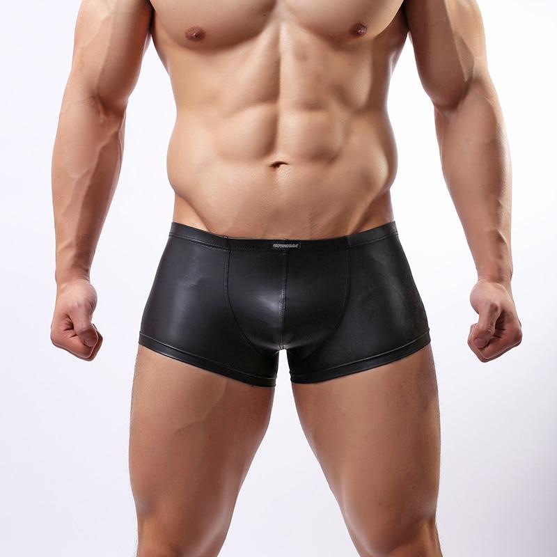 Wowhomme, calzoncillos Boxer para hombre de piel sintética, calzoncillos para hombre, bañadores de cuero japonés, ropa interior Sexy para hombre a la moda C33