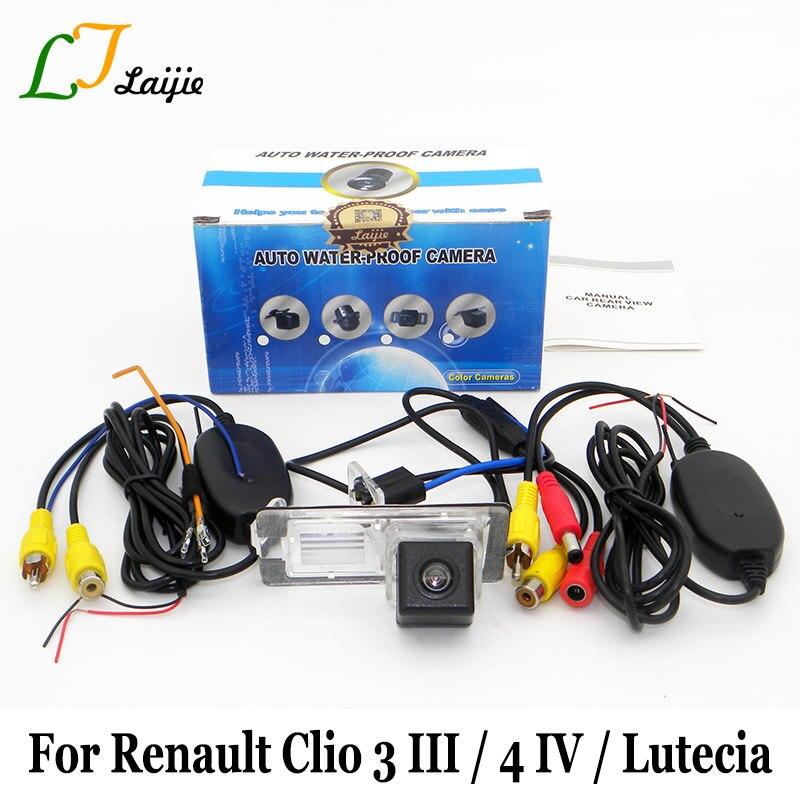 Para Renault Clio 3 4 III IV Lutecia 2005 ~ 2017/CCD HD ancho ángulo de la lente cámara de marcha atrás/RCA AUX del coche cámara de visión trasera inalámbrica