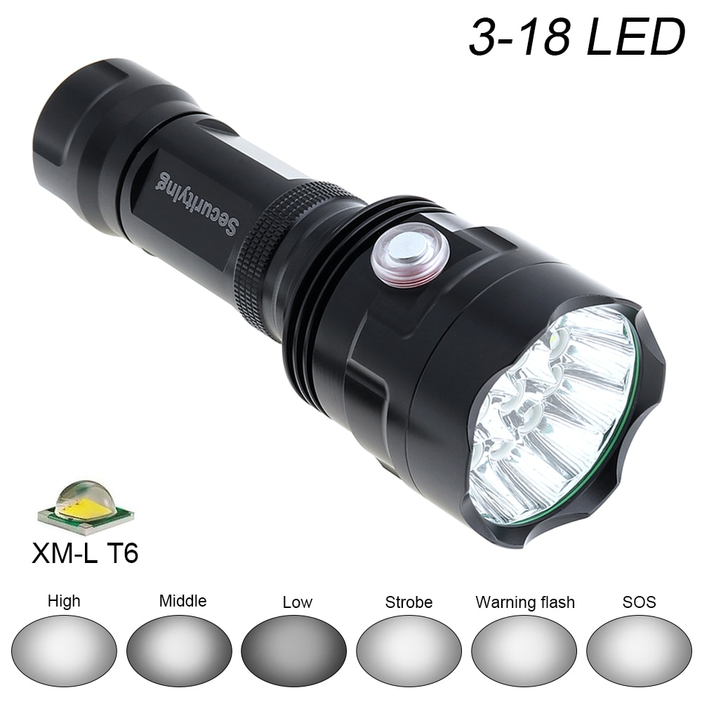 SecurityIng Waterproof LED Flashlight Super Bright 3x/7x/12x/16x/18x XM-L T6 LED 6 Modes Lamp Support USB charging Outdoor