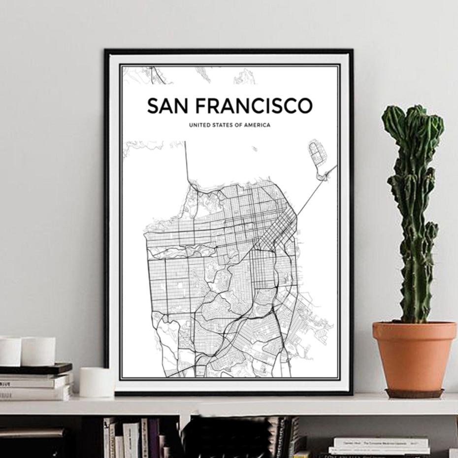 Карта города Сан-Франсиско, картины на холсте, минималистичные черно-белые плакаты, принты, настенные художественные картины для гостиной, ...
