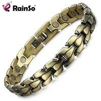 rainso mens bronze magnetic bracelet fashion luxury top quality health jewelry bio energy bracelets bangles noble wristbands