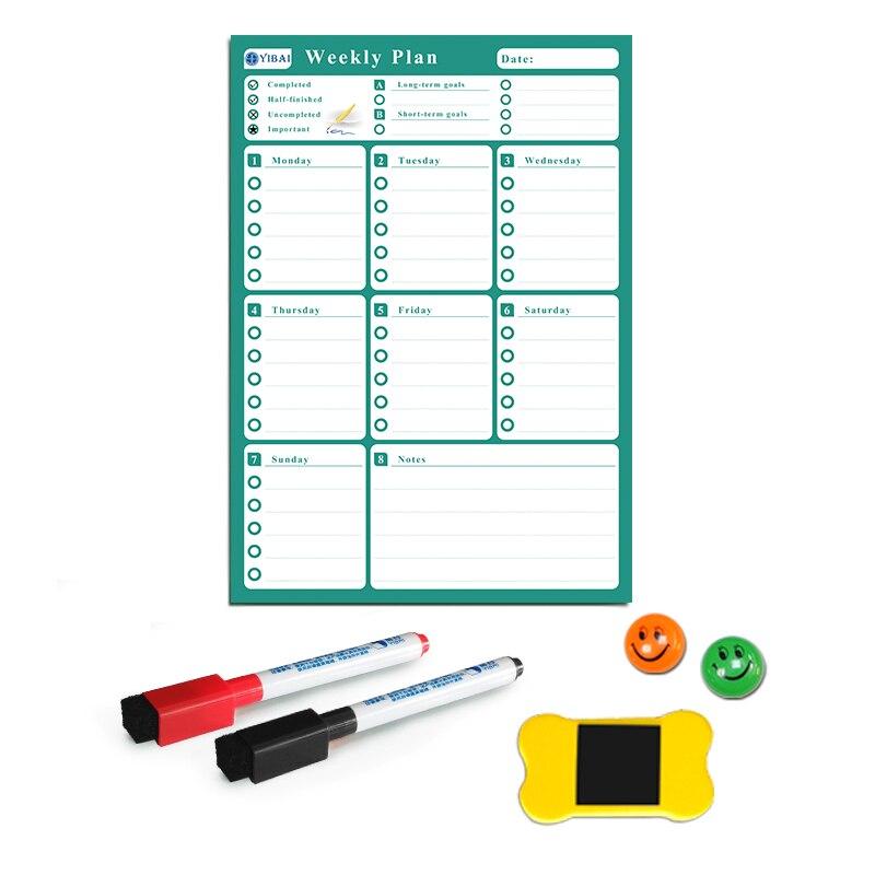 YIBAI Plan semanal magnético de la Junta borrar seco para el hogar refrigerador 4 colores disponibles UV impresión láser 42*30 cm