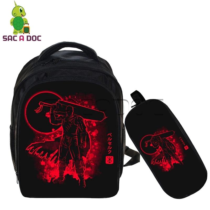 Conjunto de 2 uds para niños, mochila Berserk de anime Guts, mochila fluorescente con estuche para lápices, mochila para niños, guardería, Mini bolsa para ordenador portátil