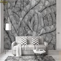 beibehang custom photo wallpaper large mural wall stickers sketch lines leaves black and white simple fashion tv background wall