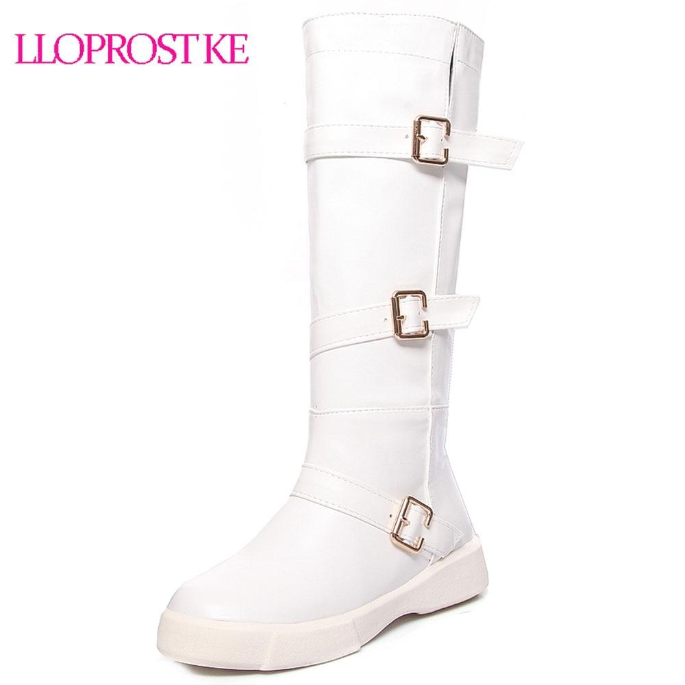 Lloprost ke Big size 34-43 high quality flock knee high boots winter platform warm fur women black white buckle snow boots D355