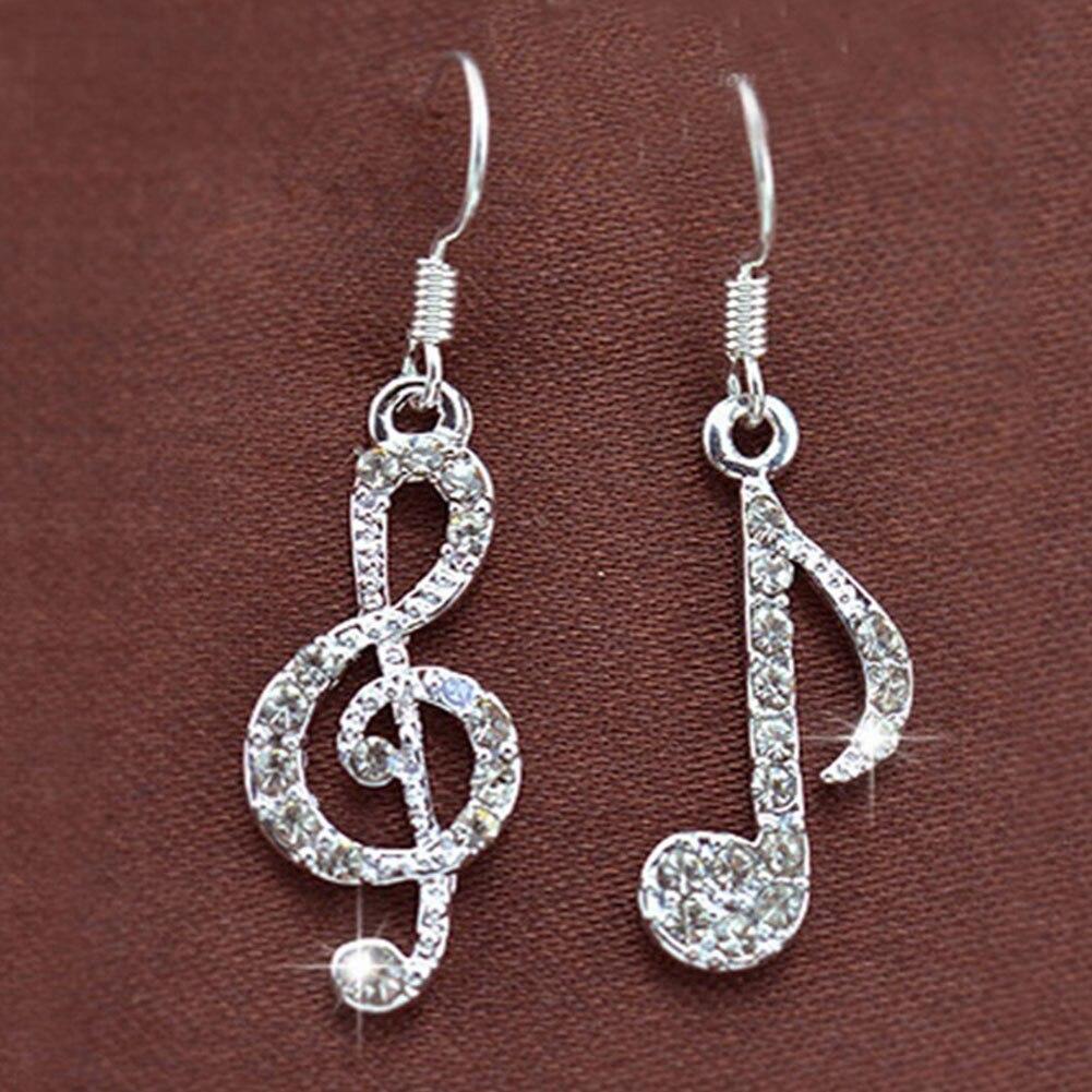 1 par de notas de música de moda gancho de oreja de cristal de Color plateado para mujer accesorio de fiesta pendiente Drop Ship