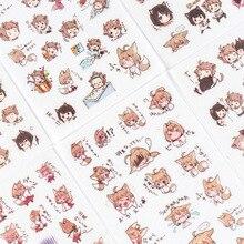 Pegatinas decorativas de Anime japonés para niños y niñas, pegatinas Washi para álbum de recortes, diario, papelería, álbum, 6 hojas por paquete