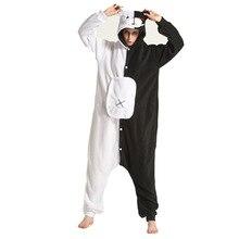 Dessin animé Monokuma Kigurumi pyjamas noir blanc ours Animal Danganronpa Onesies pour adultes femmes hommes XXL une-pièce Cosplay Costume