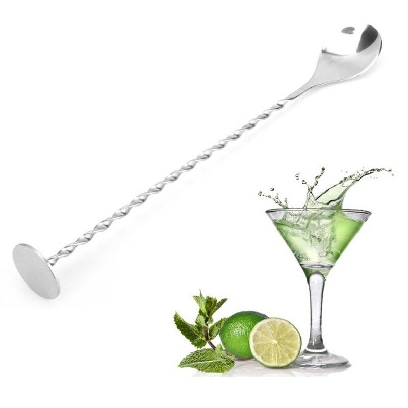 1 pc de aço inoxidável cocktail agitador barra pudler martini mexendo colher