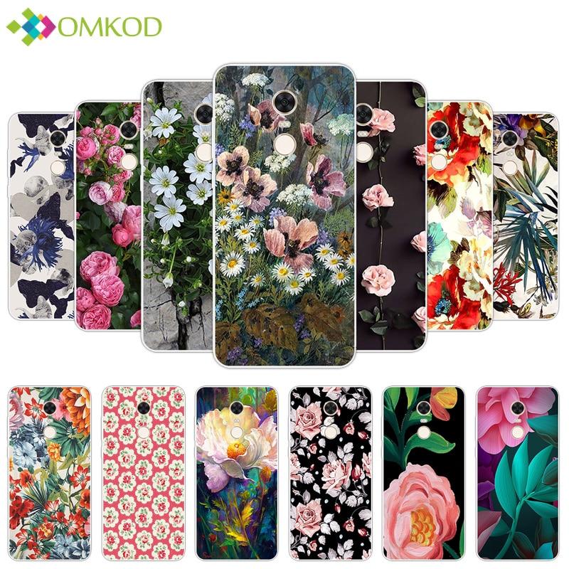 5.99 inch for Xiaomi Redmi 5 Plus Back Phone Matte Cover Silicone for Redmi5 Plus Case Clear Flowering Funda for Hongmi 5Plus
