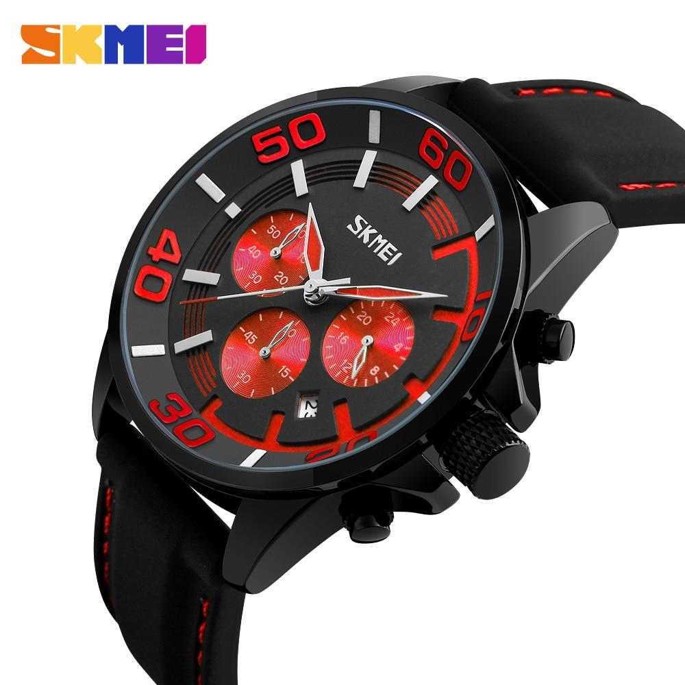SKMEI Fashion Chronograph Sport Mens Watches Top Brand Luxury Quartz Watch Six Pin Clock Male hour relogio Masculino
