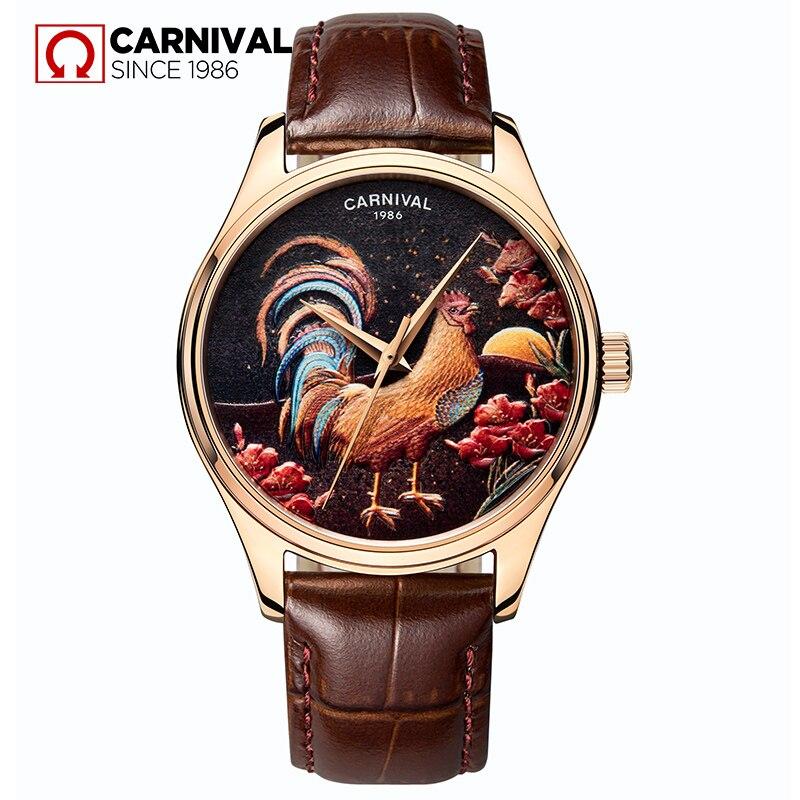 Carnival 3D diseño de pollos reloj automático hombres correa de cuero Japón mecanismo Miyota relojes mecánicos hombres reloj erkek saat