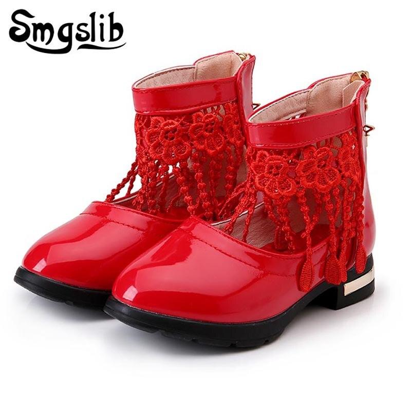 Smgslib, zapatos para niñas, zapatos de fiesta de boda, zapatos de vestir para niñas, flor de encaje, borla, niñas, zapatos de cuero rosa/Negro/Blanco/rojo para la escuela