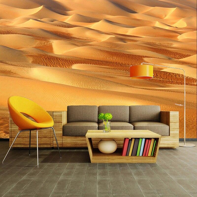 Mural estéreo 3D personalizado, Mural fotográfico moderno sencillo amarillo para desierto, papel tapiz para Hotel, temático, restaurante, sala de estar, decoración de pintura de pared natural