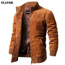 Kожаная куртка мужская FLAVOR, коричневый жакет из натуральной свиной кожи с трикотажными манжетами и воротником стойка, приталенный силуэт, н...
