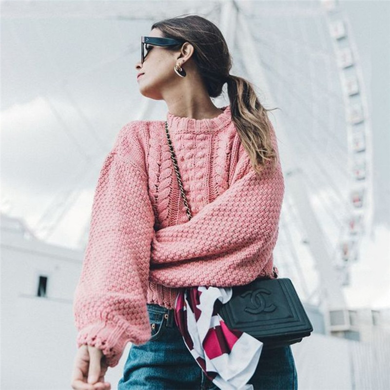 Liva Girl Casual suéter suelto para mujer Otoño Invierno vendaje caliente suéteres de manga larga ropa superior corta Pullovers mujer precio