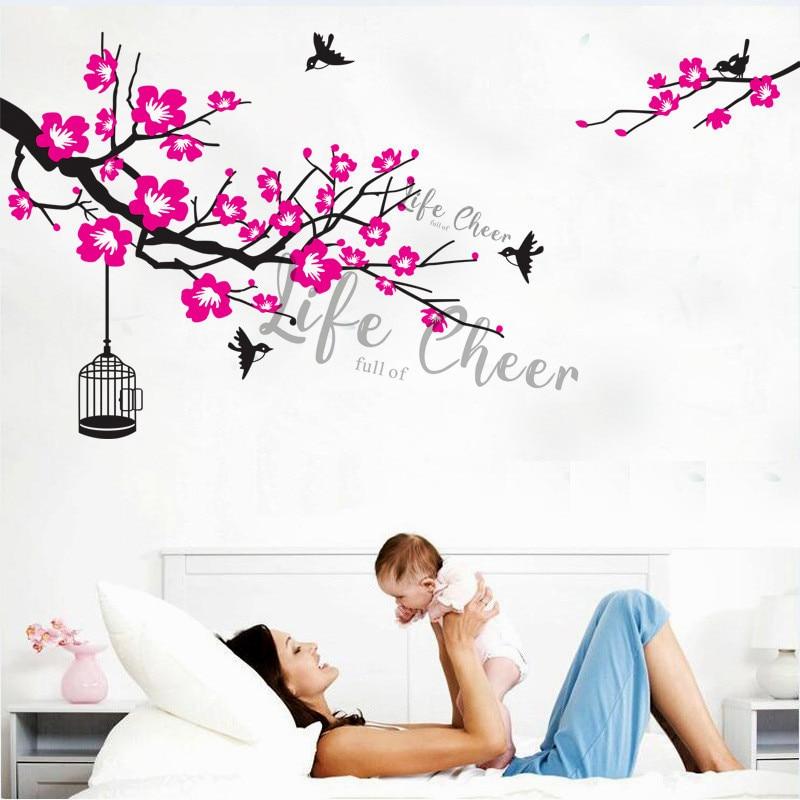 Flores florecientes vinilo Adhesivo de pared ramas árbol con pájaros pared calcomanía desmontable arte Conner árboles papel tapiz decoración del hogar AC235