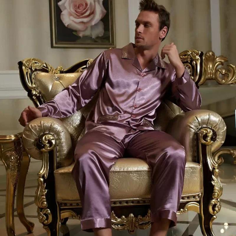 2020 бренд мужчины пижамы сексуальный атлас шелк пижама брюки комплекты вышивка длинный рукав пижама гостиная комплекты повседневная одежда одежда для сна X1529